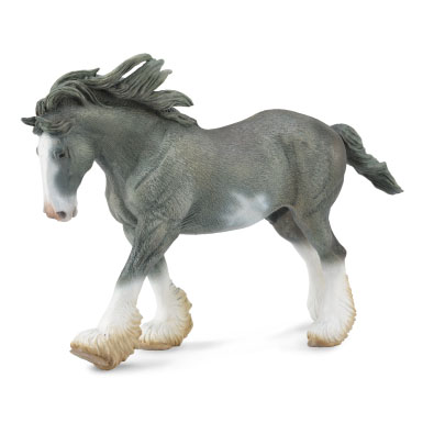 Clydesdale Stallion - black sabino roan - horses-1-20-scale