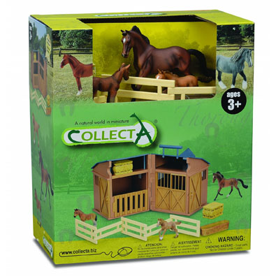 Stable Playset with 3pcs horse-life & accessories - 89341